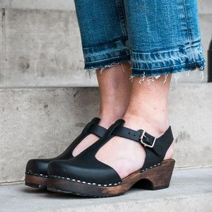 Lotta Of Stockholm Black Leather Clog